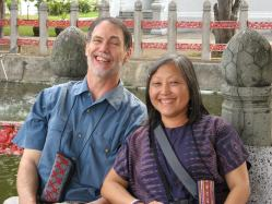 Kasma and Michael at the Marble Temple in Bangkok, January 2008