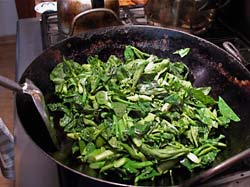 Stir-frying greens