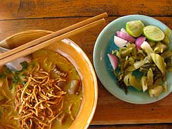 Noodles (left) with additions