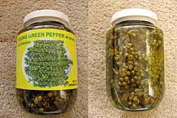 Greet peppercorns in brine