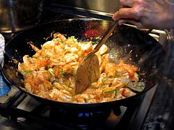 Stir-frying in Wok
