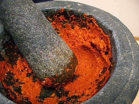 Red Curry Paste in Mortar & Pestle