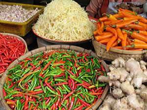 Chillies at market