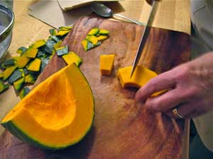 Cutting the Kabocha squash