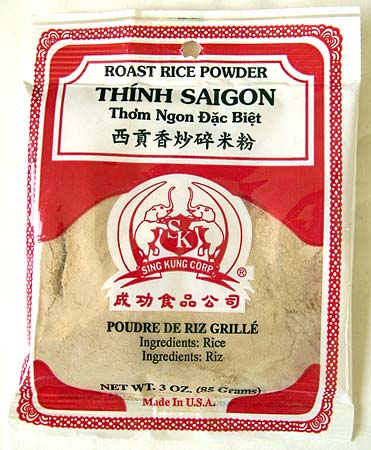 Bag of roasted rice powder