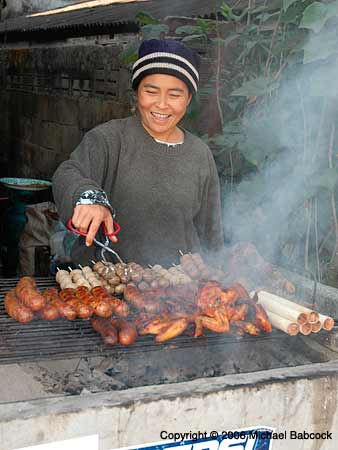 Street food sausage vendor